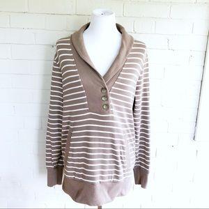 Banana Republic brown striped button sweatshirt